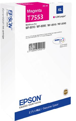 Картридж повышенной емкости с пурпурными чернилами T7553 для WF-8090, 8590 (C13T755340) картридж повышенной емкости с черными чернилами t7551 для wf 8090 8590 c13t755140