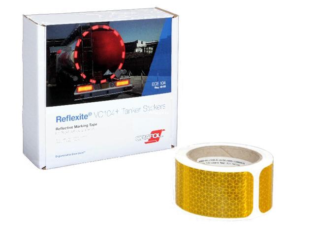 Фото - Oralite/Reflexite VC104+ Tanker Stickers для жесткого борта, для цистерн, желтая 0.05x10 м oralite reflexite vc104 curtain grade segmented для мягкого тента сегментированная белая 0 05x50 м