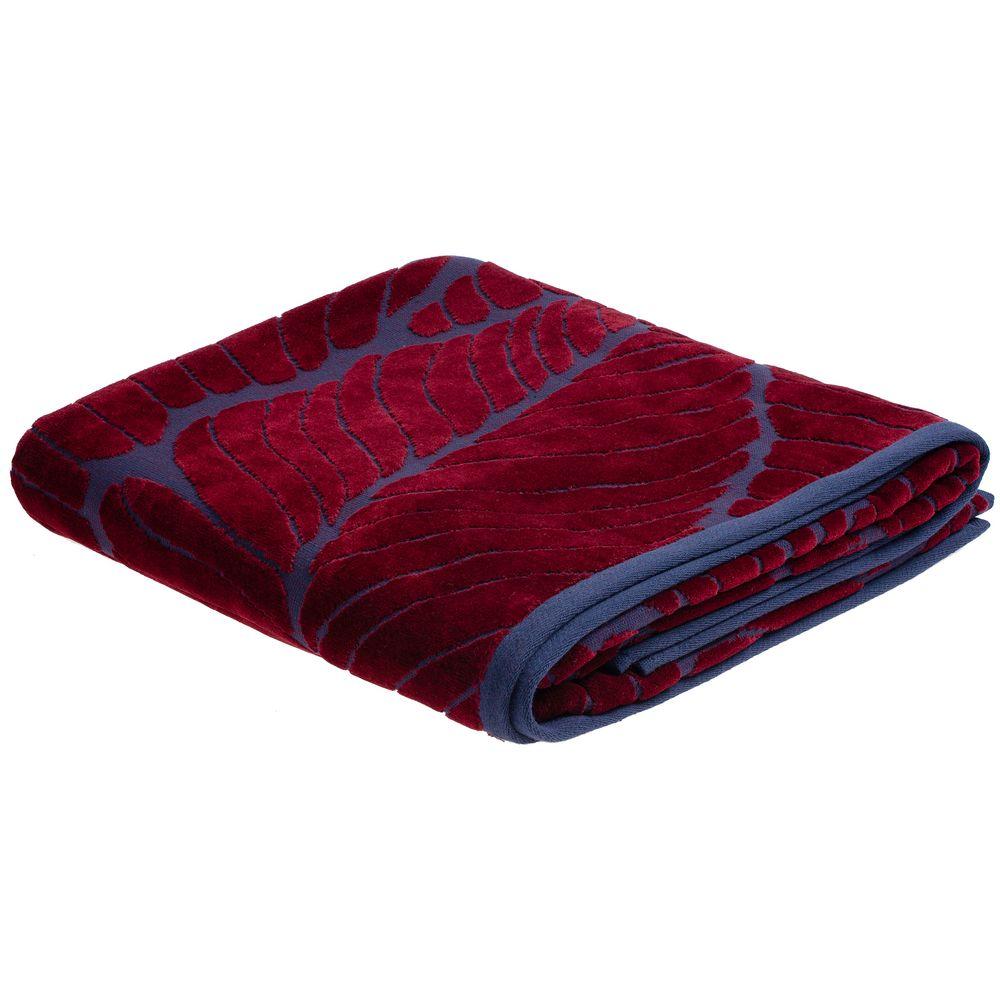 Полотенце In Leaf, большое, синее с бордовым полотенце с именной вышивкой синее