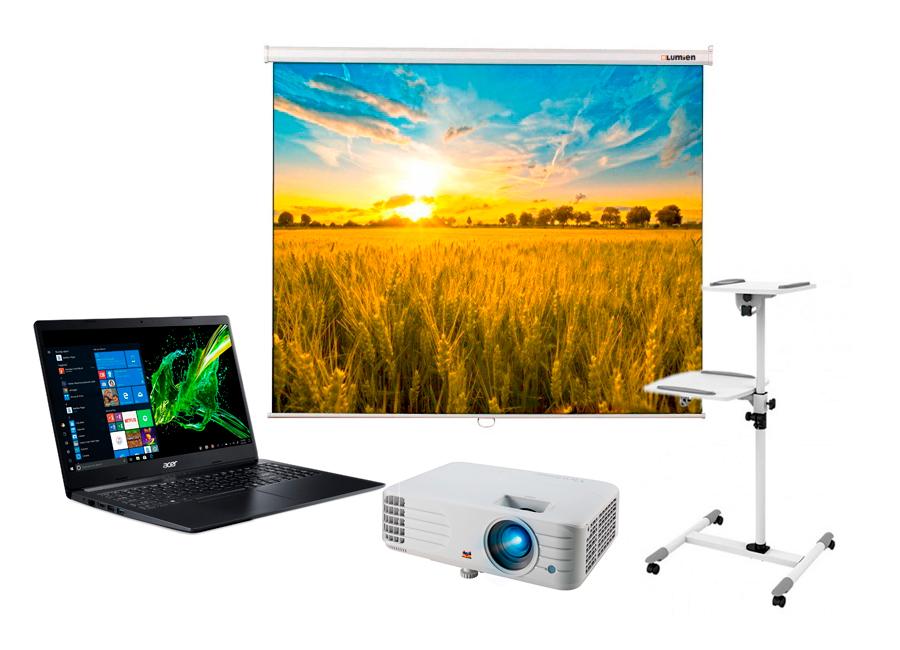 Фото - Экран Lumien Eco Picture 200x200 MW в комплекте с проектором ViewSonic PX701HD, столиком Classic Solution PT-16 Twin и ноутбуком Acer Aspire 3 A315-42-R0JV scee by twin set накидка