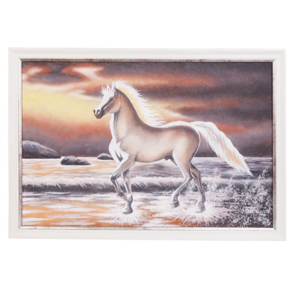 Картина «Лошадь» в серебристой раме фото