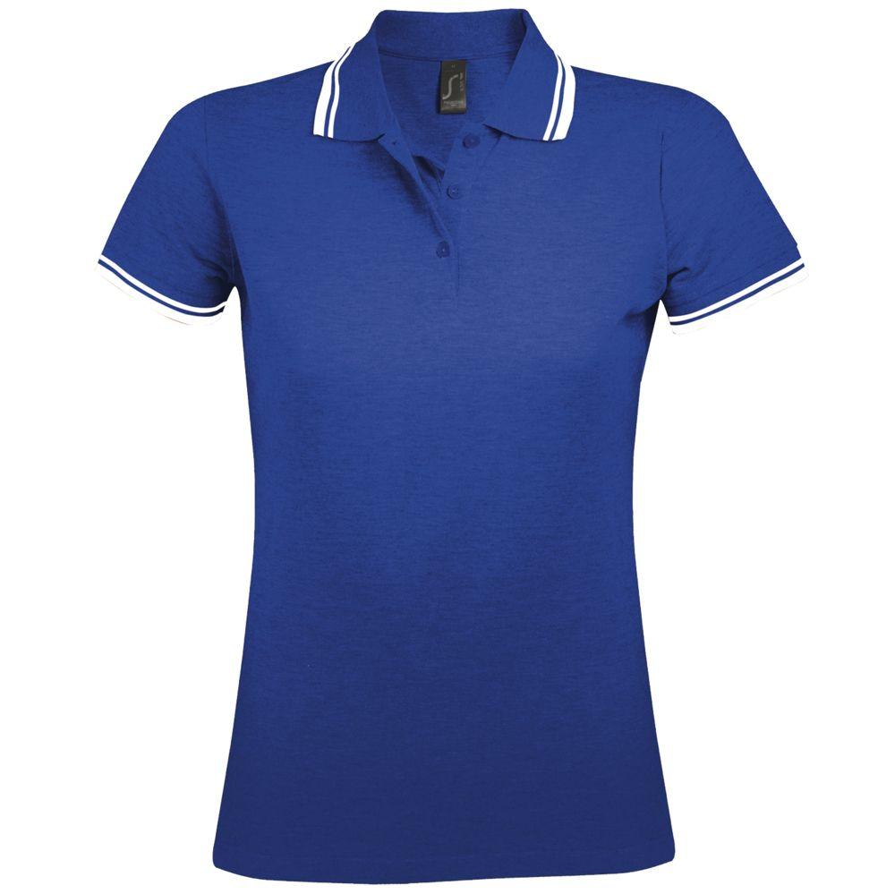 Рубашка поло женская PASADENA WOMEN 200 с контрастной отделкой ярко-синяя с белым, размер L фото