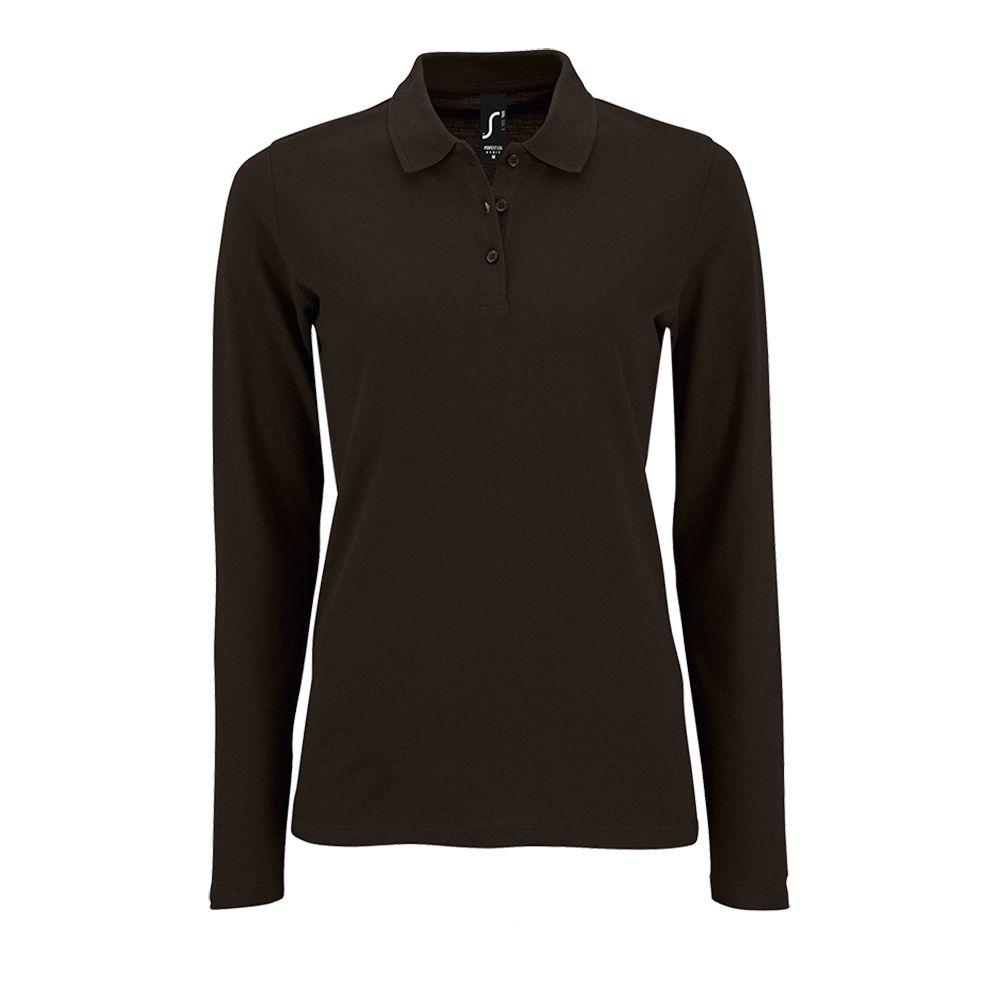Рубашка поло женская с длинным рукавом PERFECT LSL WOMEN черная, размер M фото