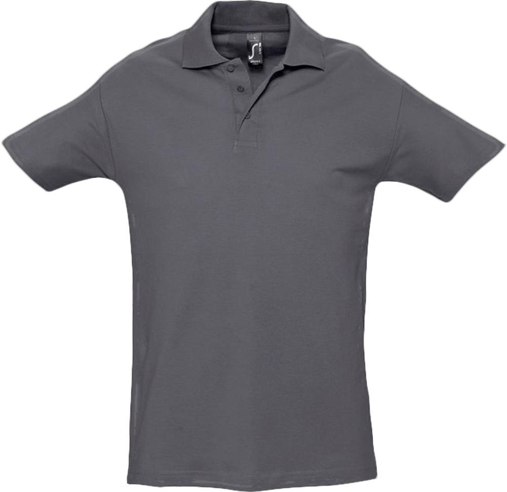 Рубашка поло мужская SPRING 210 темно-серая, размер S