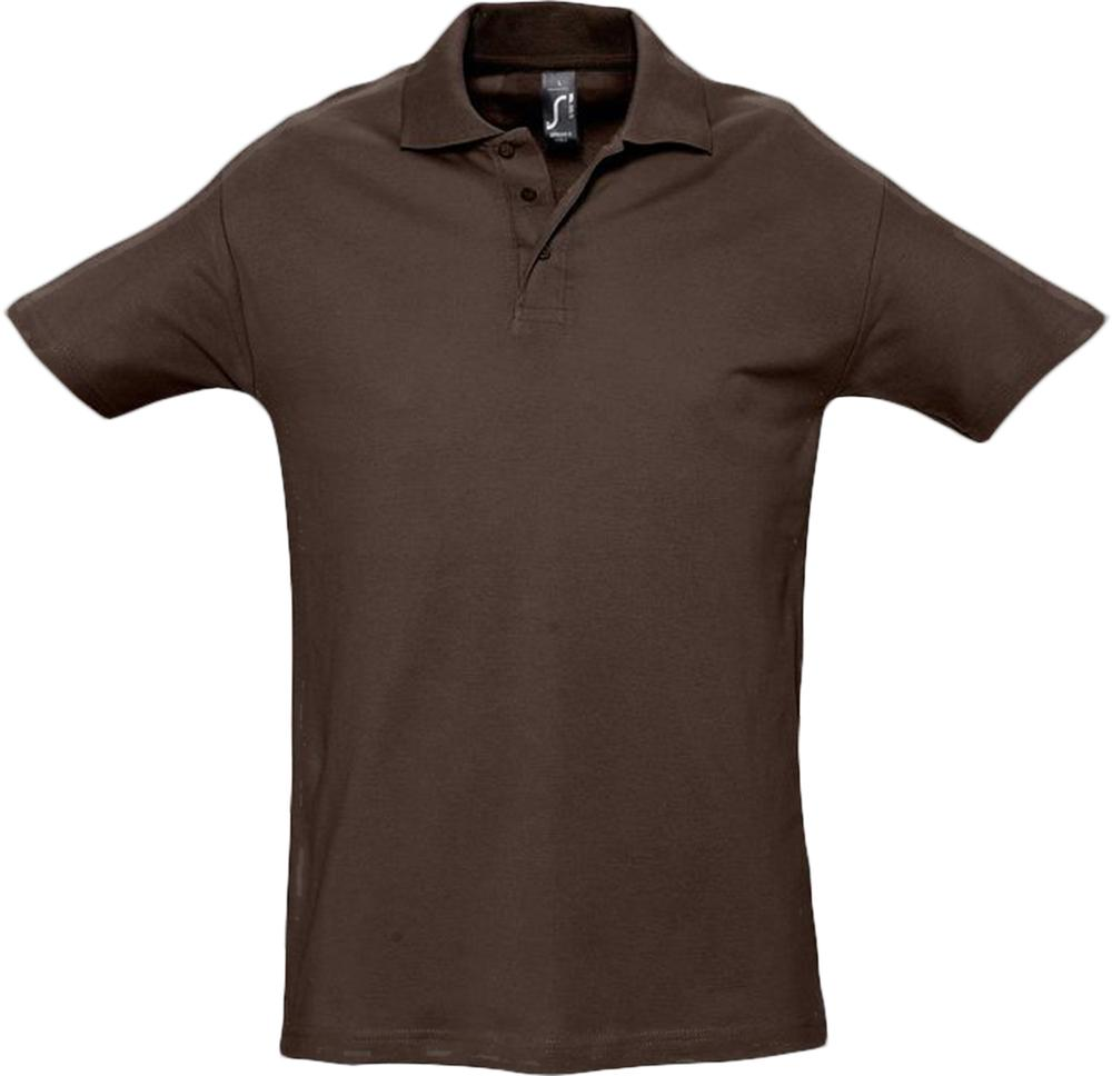 Рубашка поло мужская SPRING 210 шоколадно-коричневая, размер S