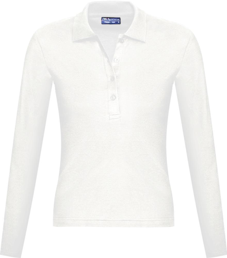 Фото - Рубашка поло женская с длинным рукавом PODIUM 210 белая, размер S рубашка поло женская с длинным рукавом podium 210 темно зеленая размер m