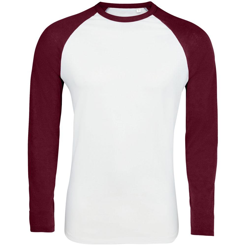 Футболка мужская с длинным рукавом FUNKY LSL белая с бордовым, размер L