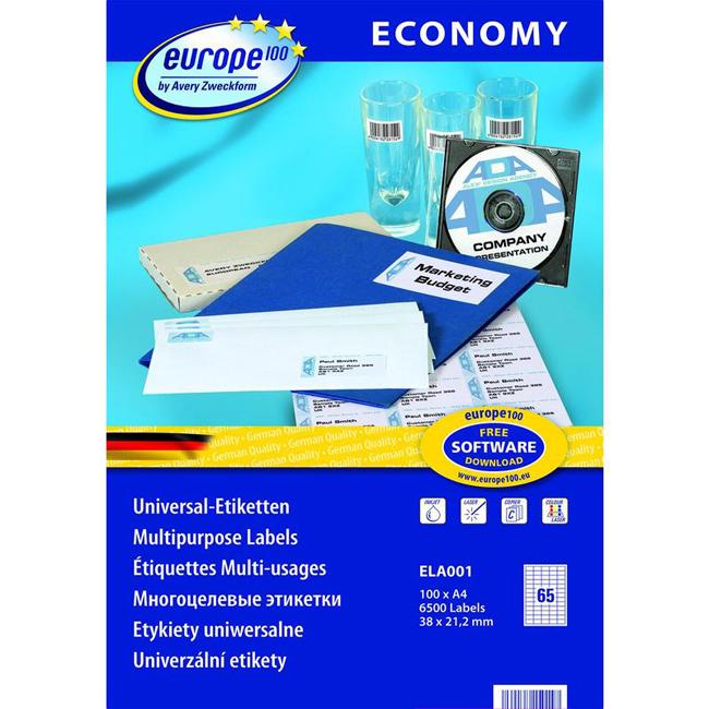 Универсальные самоклеящиеся этикетки Avery Zweckform Europe100 ELA001