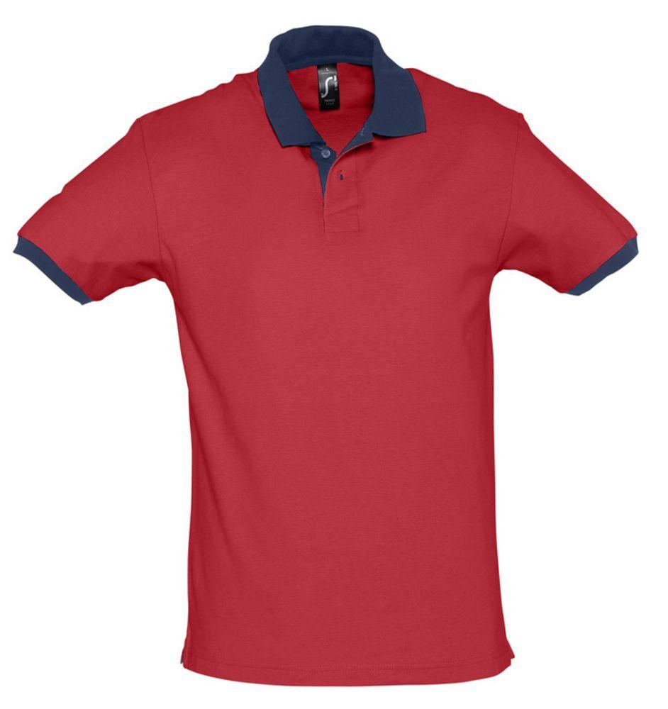 Рубашка поло Prince 190, красная с темно-синим, размер L фото