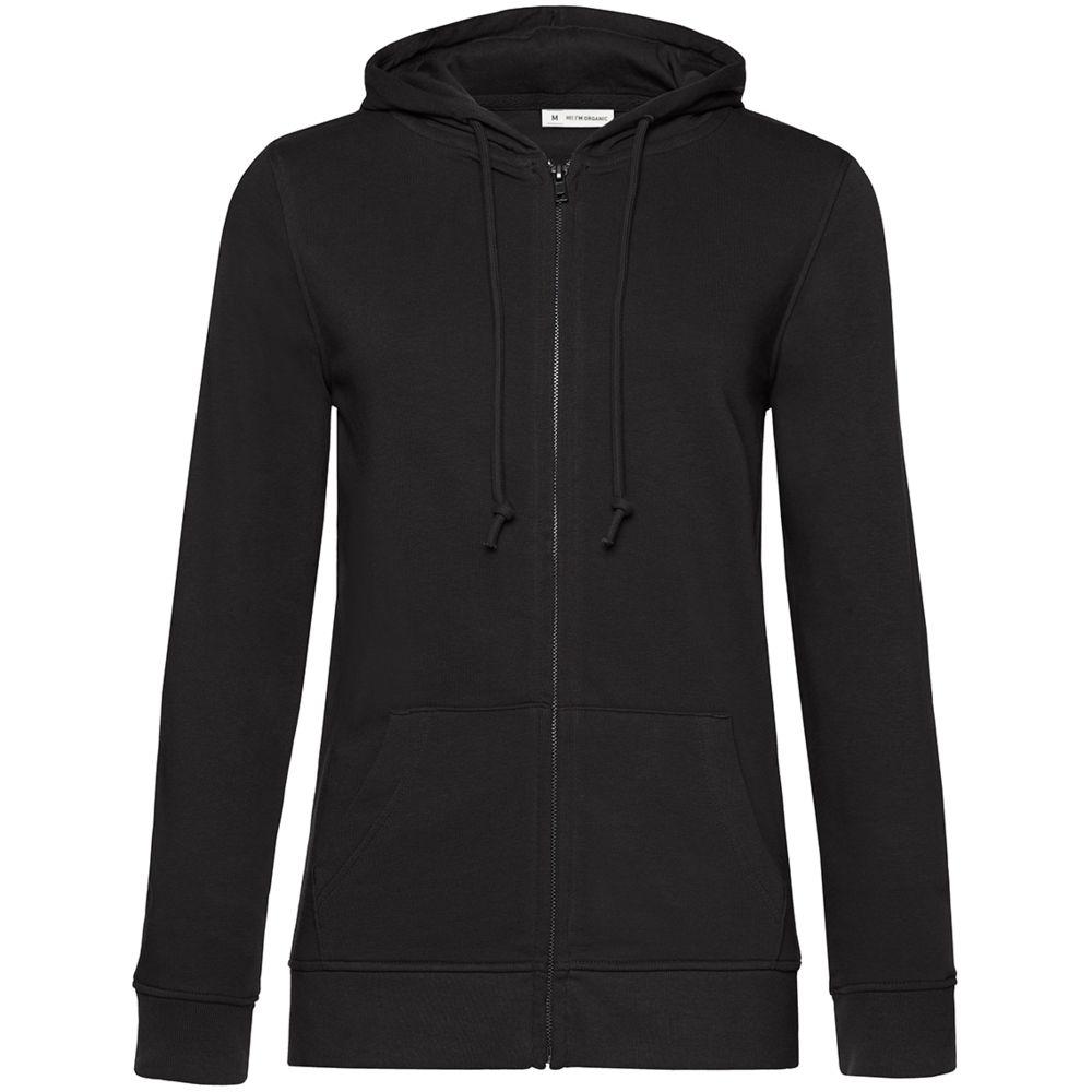 Толстовка на молнии с капюшоном женская BNC Organic, черная, размер XL
