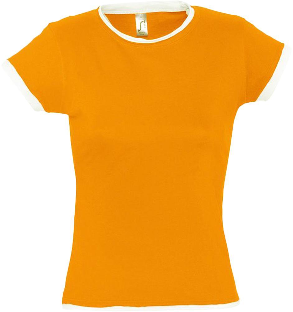 Футболка женская MOOREA 170 оранжевая с белой отделкой, размер L