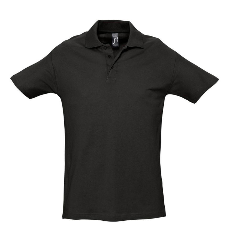 Рубашка поло мужская SPRING 210 черная, размер M