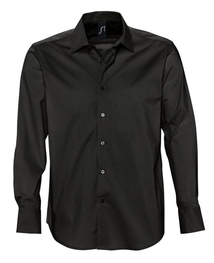 Рубашка мужская с длинным рукавом BRIGHTON черная, размер S