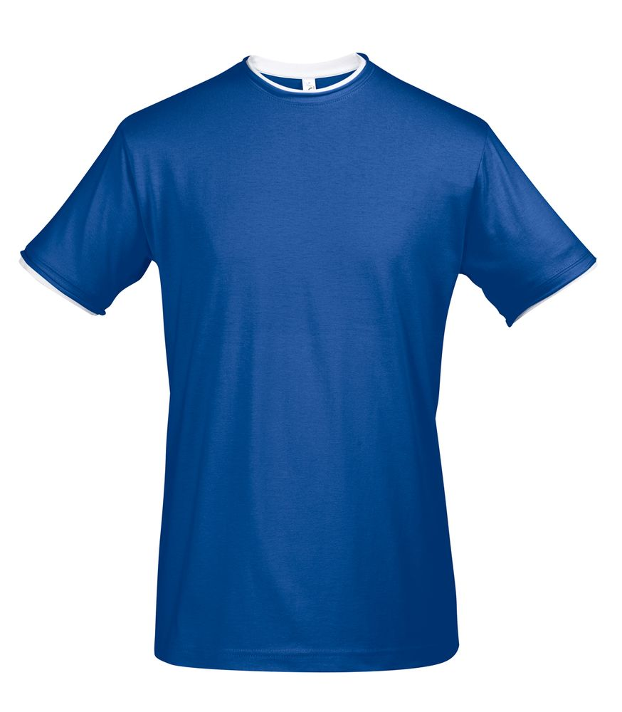 Футболка мужская с контрастной отделкой MADISON 170, ярко-синий/белый, размер XXL футболка мужская diesel цвет белый 00spvz 0caky 100 размер xxl 54
