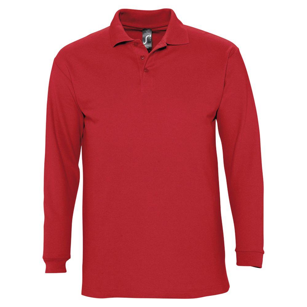 Рубашка поло мужская с длинным рукавом WINTER II 210 красная, размер XL фото