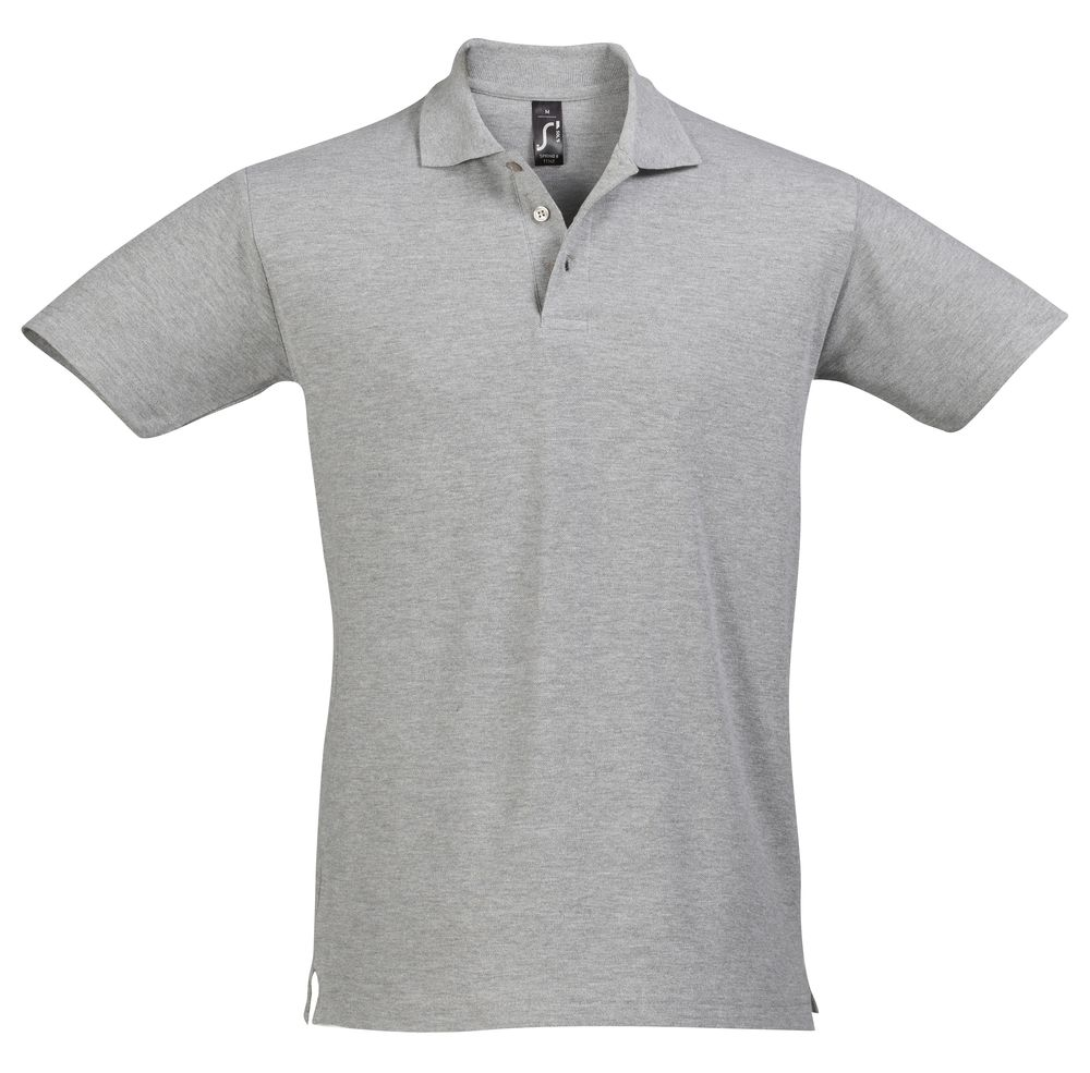 Рубашка поло мужская SPRING 210 серый меланж, размер S