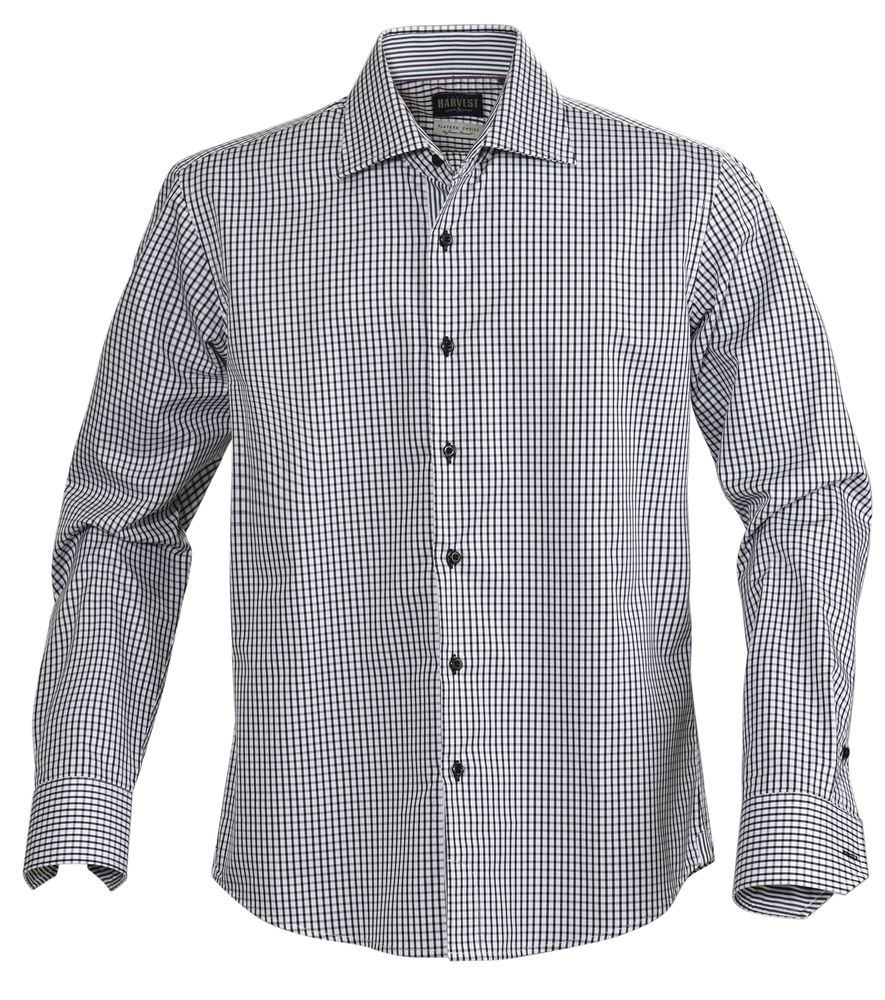 Рубашка мужская в клетку TRIBECA, черная, размер S