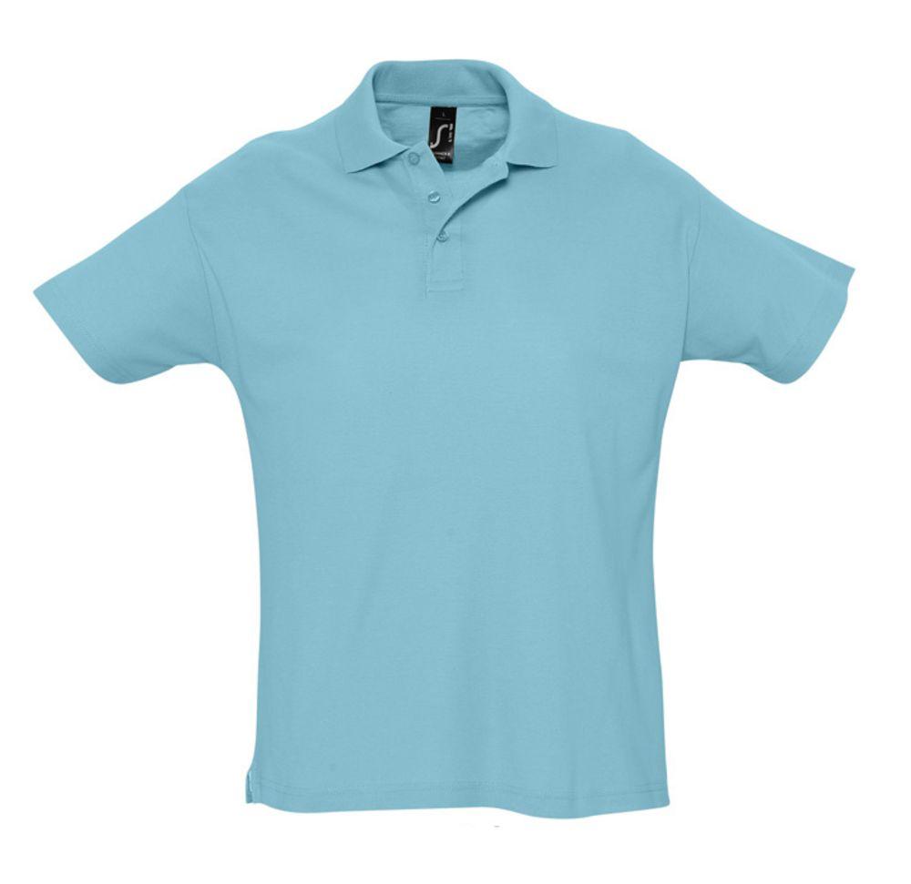 Рубашка поло мужская SUMMER 170 бирюзовая, размер XS