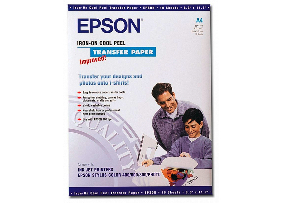 Термотрансферная бумага Epson A4 Iron-On Cool Peel Transfer Paper 124 г/м2, 10 листов (C13S041154)