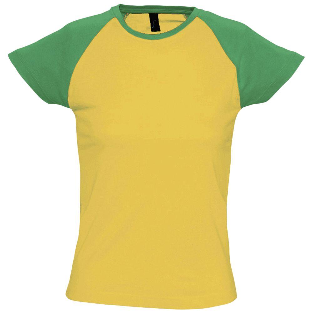Футболка женская MILKY 150 желтая с зеленым, размер XL