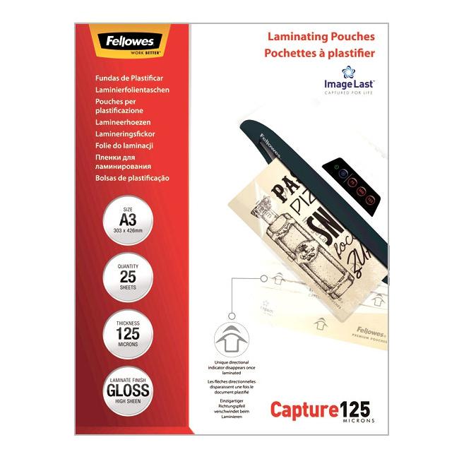 Фото - Пакетная пленка для ламинирования Fellowes A3, 303 x 426 мм, Глянцевая, 125 мкм, 25 шт пакетная пленка для ламинирования матовая 125 мкм 303 x 426 мм 100 шт