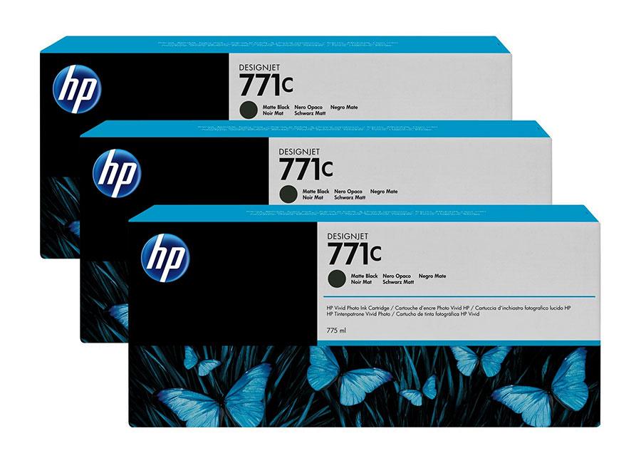 Набор картриджей HP DesignJet 771 (CR250A) Matte Black 3x775 мл (B6Y31A)