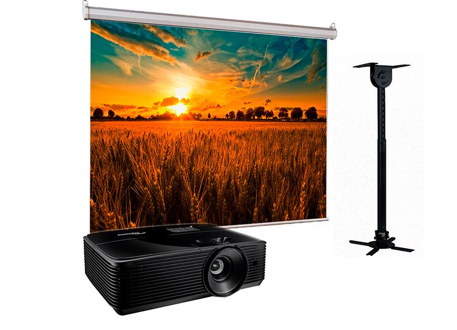 Фото - Проекционный экран Lumien Eco Picture 200x200 MW в комплекте с проектором Optoma X343e и потолочным креплением Wize WPС-B объектив для проектора sim2 m2 lens для sirio