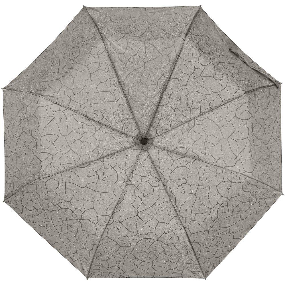 Складной зонт Tracery с проявляющимся рисунком, серый складной зонт magic с проявляющимся рисунком фиолетовый