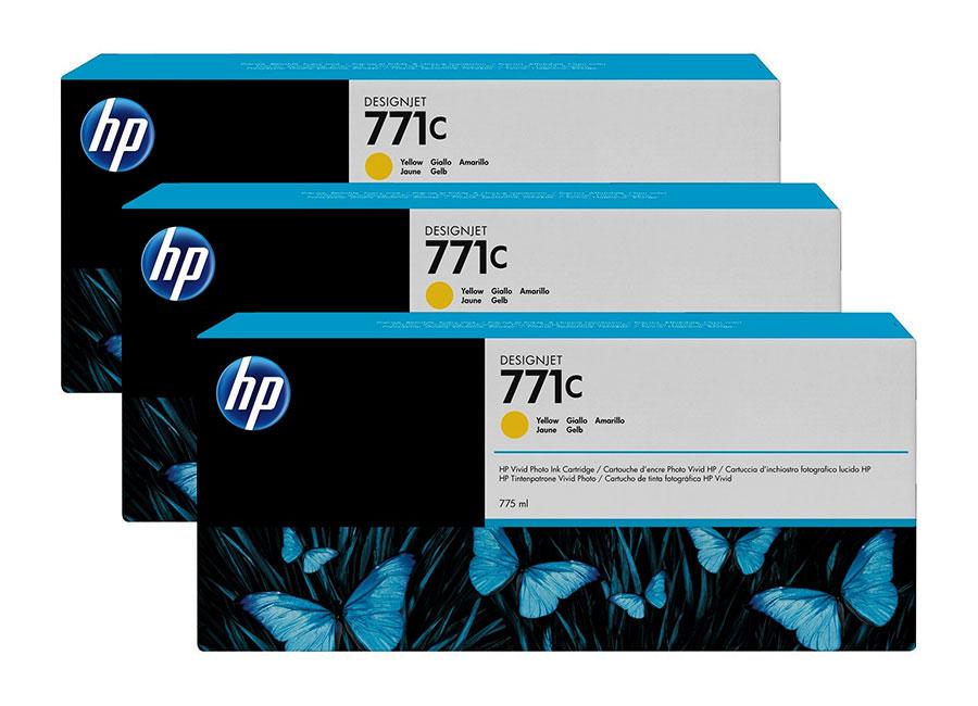Набор картриджей HP DesignJet 771 CR253A Yellow 3x775 мл (B6Y34A)