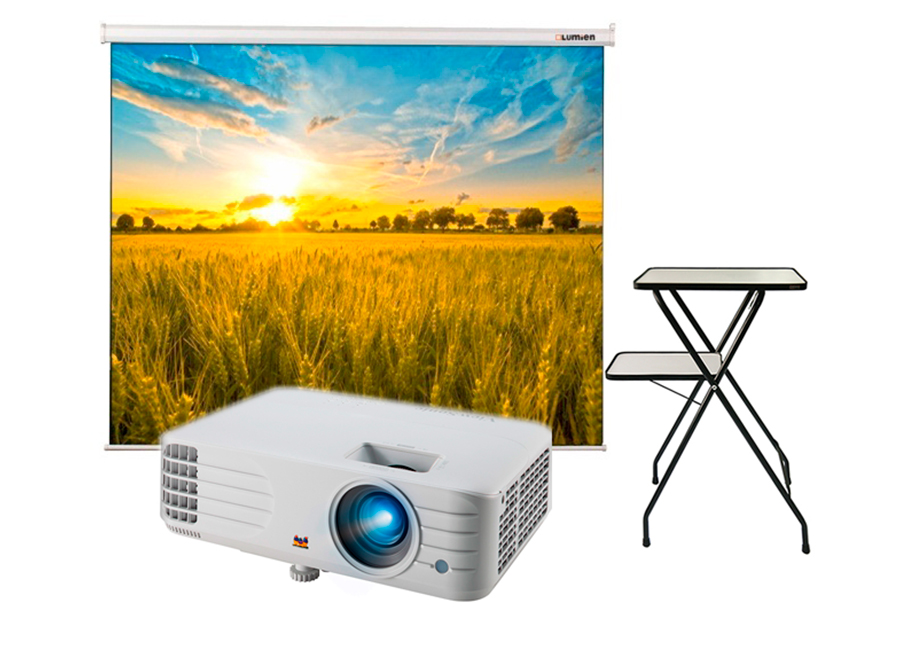 Фото - Проекционный экран Lumien Eco Picture 200x200 MW в комплекте с проектором ViewSonic PX701HD и проекционным столиком Lumien Deco LTD-101 экран для проектора lumien eco picture 180x180 lep 100102