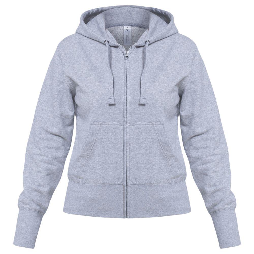 Толстовка женская Hooded Full Zip серый меланж, размер S толстовка женская oodji ultra цвет серый белый 16907003 1 48338 2310z размер xxs 40