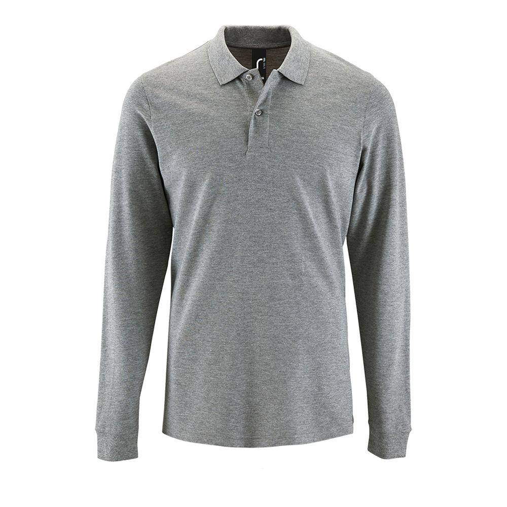 Рубашка поло мужская с длинным рукавом PERFECT LSL MEN серый меланж, размер S рубашка поло мужская с длинным рукавом perfect lsl men зеленое яблоко размер s
