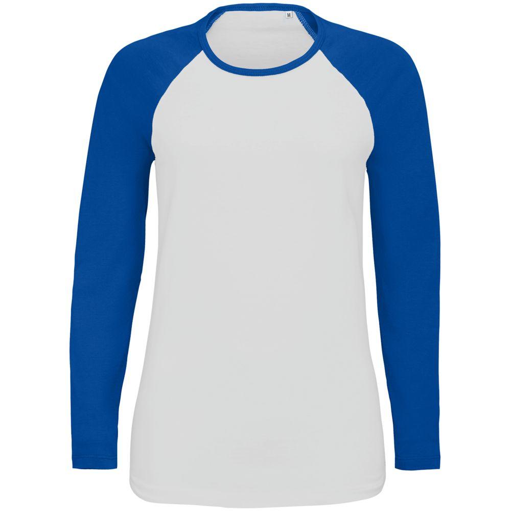 Футболка женская с длинным рукавом MILKY LSL белая с ярко-синим, размер XL туника odeks style туники с длинным рукавом