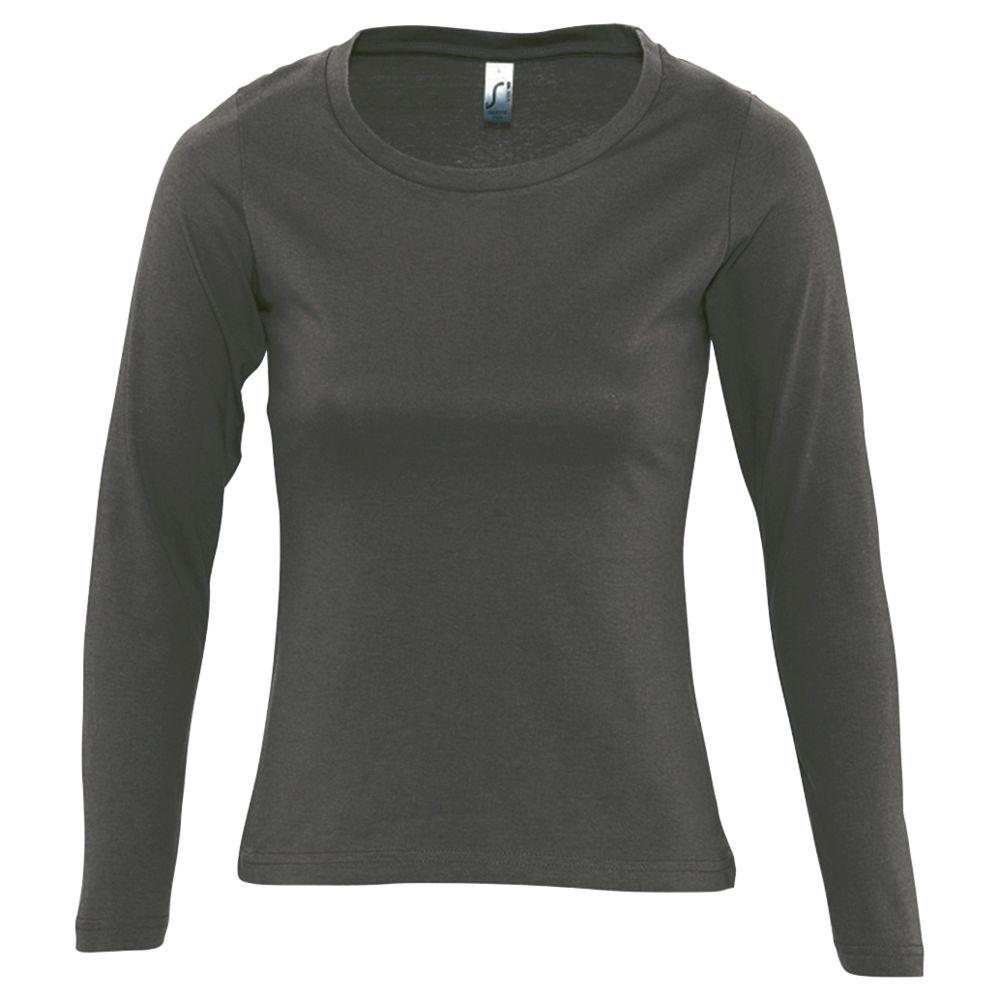 Футболка женская с длинным рукавом MAJESTIC 150, темно-серая, размер S футболка мужская с длинным рукавом monarch 150 темно серая размер s