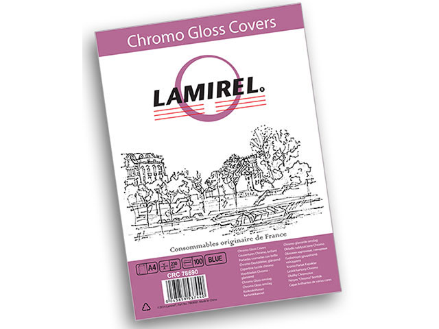 Обложка картонная Lamirel Chromolux, Глянец, A4, 230 г/м2, синий, 100 шт обложки для переплета brauberg а4 230 г м2 100 шт желтый