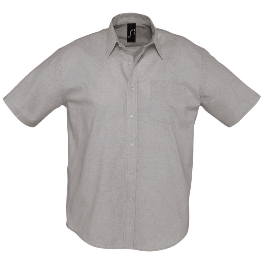 Рубашка мужская с коротким рукавом BRISBANE серая, размер 4XL блуза с коротким рукавом seventy блузы с коротким рукавом