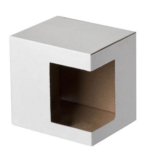 Коробки для кружек Белые с прямоугольным угловым окном, не собранные, 100 шт.