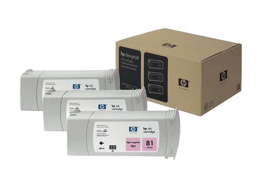 Набор картриджей HP DesignJet 81 indoor Dye Light Magenta 3x680 мл (C5071A) colorwave300 magenta 350 мл 5834b007