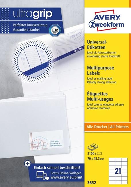 Универсальные самоклеящиеся этикетки Avery Zweckform, 100 листов, 3652
