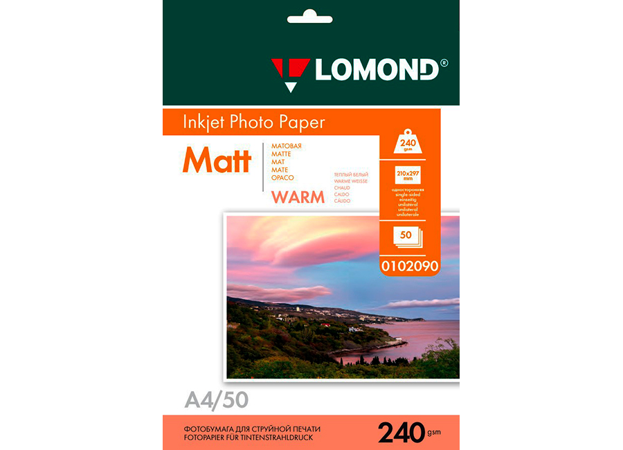 Фото - Lomond Inkjet Photo Paper Matt (Warm) А4, 240 г/м2, 50 листов (0102090) цв tsl 57120 50 г