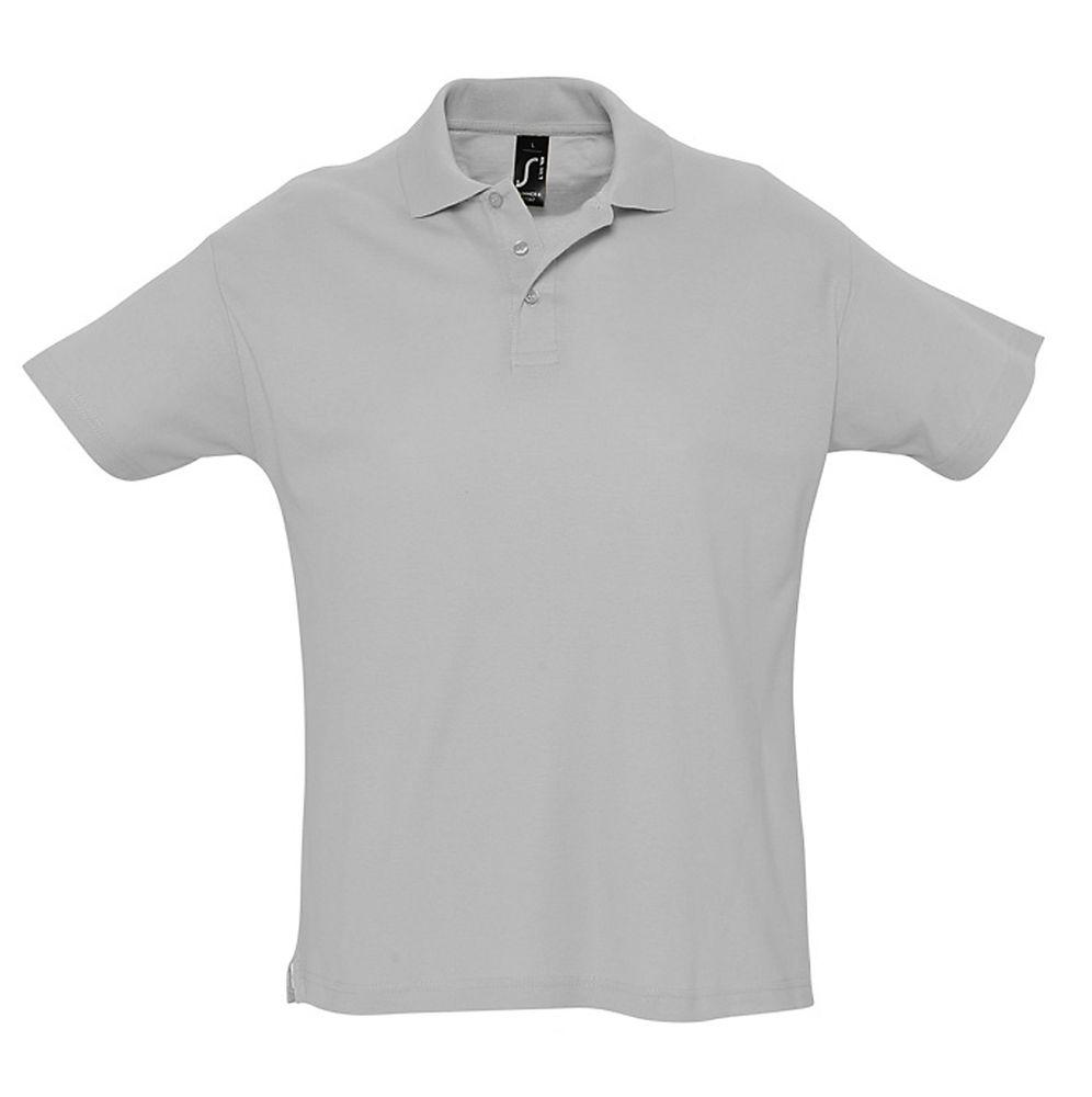 Рубашка поло мужская SUMMER 170 серый меланж, размер XS