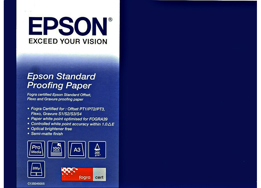 Epson Standard Proofing Paper A3, 205 г/м2, 100 листов (C13S045005) proofing paper commercial 17 432мм х 30 5м 195 г м2 c13s042145