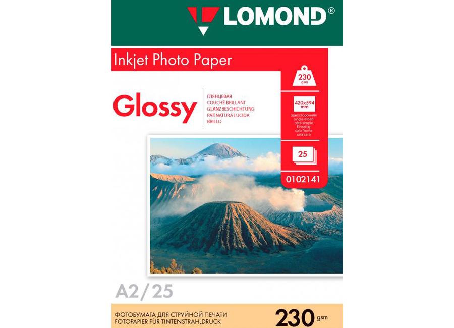 Фото - Lomond для струйной печати, A2, 230 г/м2, 25 листов, односторонняя, глянцевая (0102141) lomond для струйной печати a2 100 г м2 25 листов двусторонняя матовая матовая 0102137