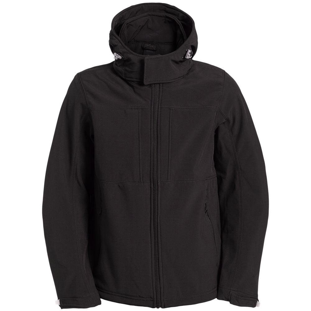 Куртка мужская Hooded Softshell черная, размер XXL