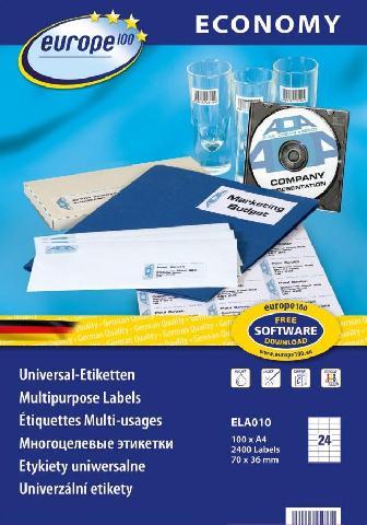 Универсальные самоклеящиеся этикетки Europe100 ELA010 бумажные этикетки zebra 3006320 z select 2000t 102x76мм