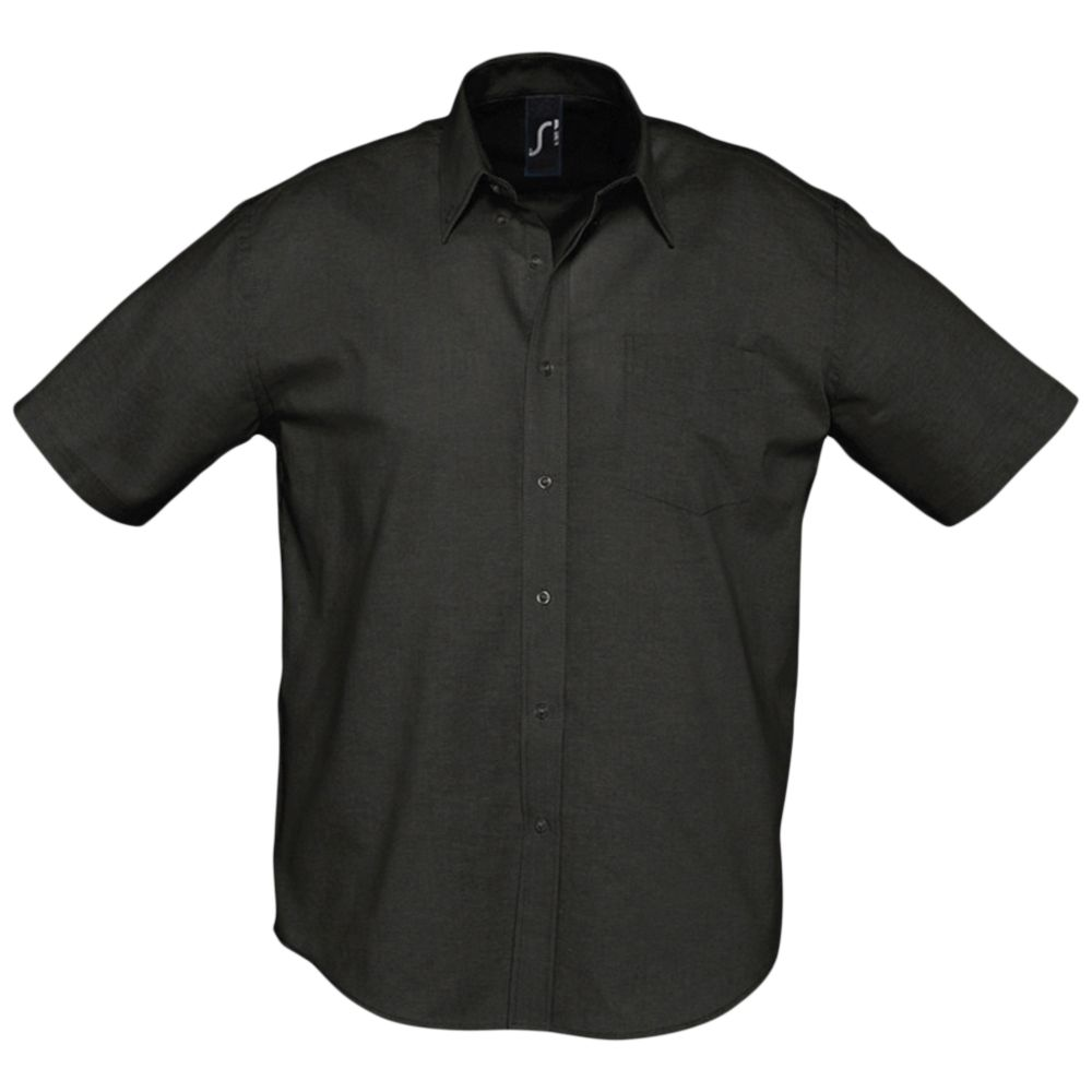 Рубашка мужская с коротким рукавом BRISBANE черная, размер M блуза с коротким рукавом seventy блузы с коротким рукавом