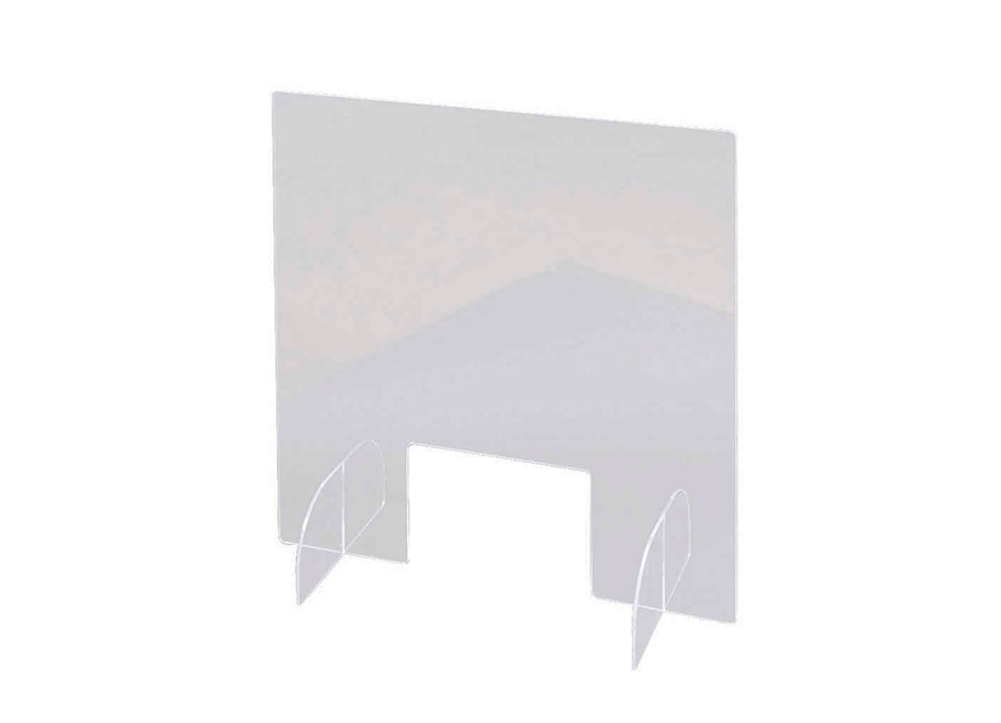 Прямой односекционный настольный защитный экран с подставками, окном, акрил, 60x81 см, 40x20 3 мм