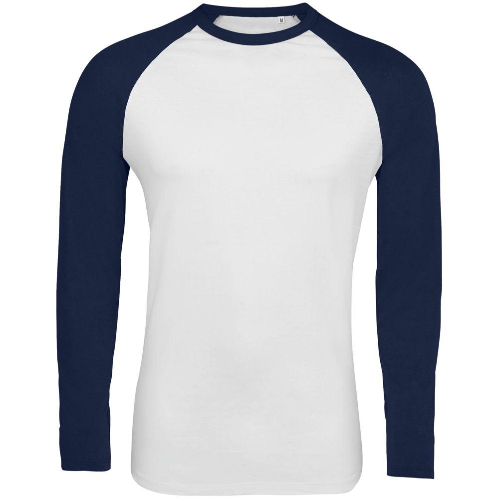 Футболка мужская с длинным рукавом FUNKY LSL белая с темно-синим, размер XL