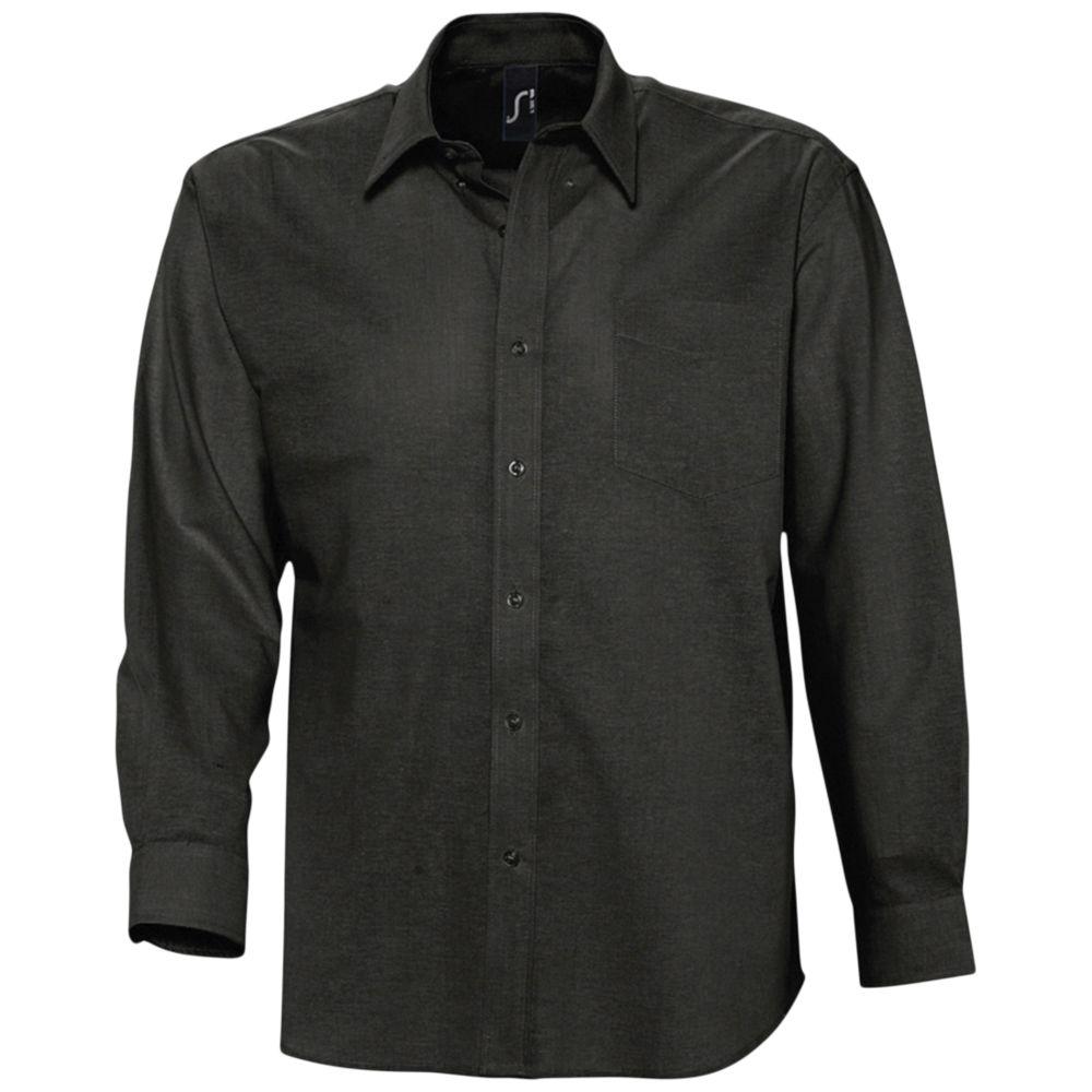 Рубашка мужская с длинным рукавом BOSTON черная, размер S