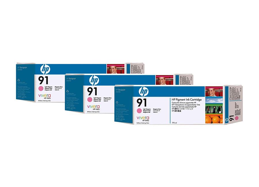 Набор картриджей HP DesignJet 91 Light Magenta 3x775 мл (C9487A)